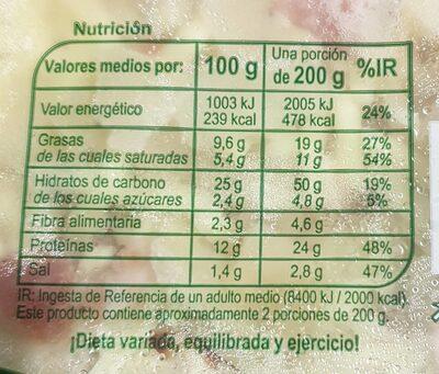 Pizza Bacon & Queso - Voedingswaarden - es