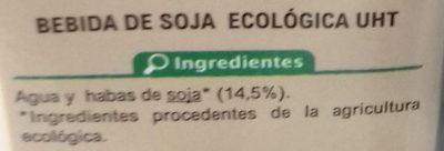 Bebida de Soja Bajo contenido en azúcares - Ingredientes