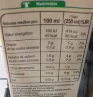 Bebida de Soja Bajo contenido en azúcares - Información nutricional