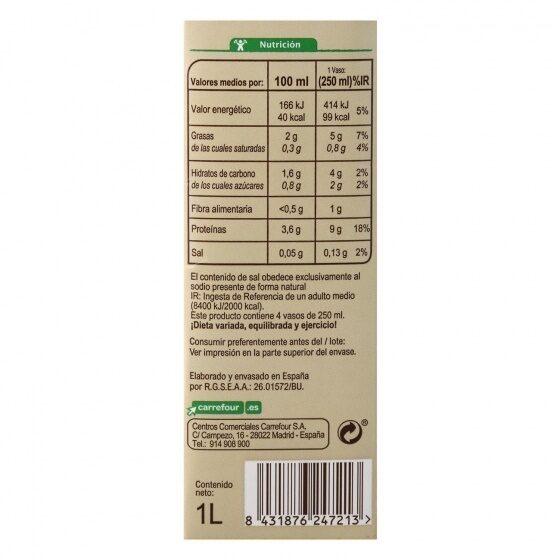 Bebida soja classic - Informations nutritionnelles - es