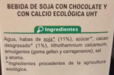 Bebida de Soja Calcio Chocolate - Ingredientes