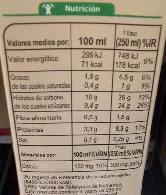Bebida de Soja Calcio Chocolate - Información nutricional