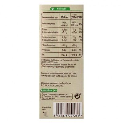 Bebida avena - Informations nutritionnelles - es