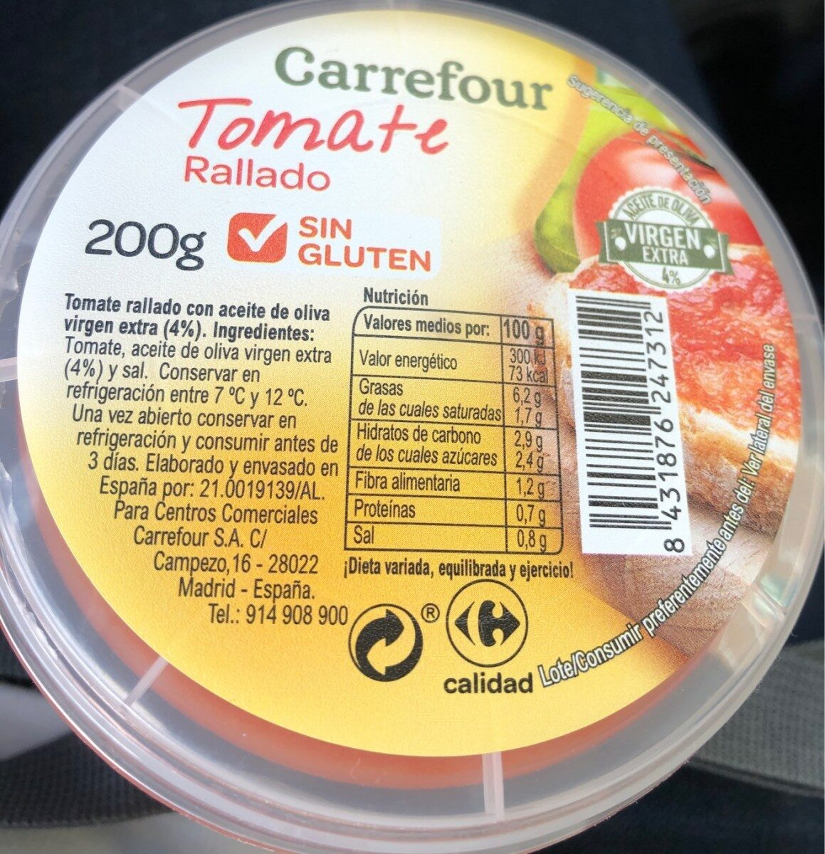 Tomate rallado - Producto