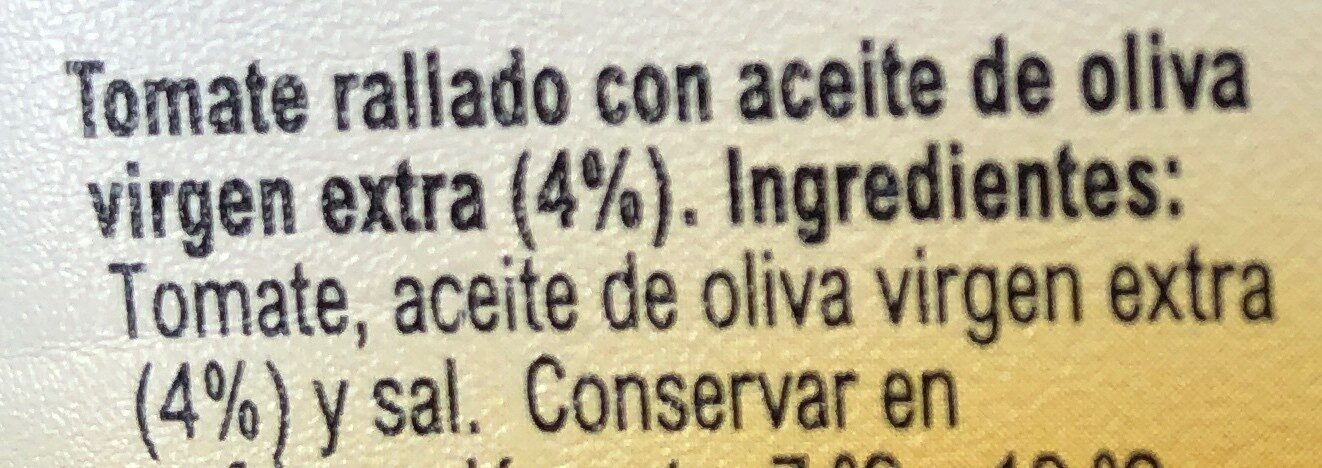 Tomate rallado - Ingredientes