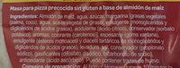 Bases para pizza precocidas - Ingredientes