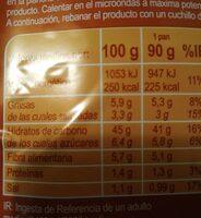 Pan de hamburguesa sin gluten - Valori nutrizionali - es