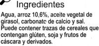 Bebida arroz calcio - Ingrédients - es