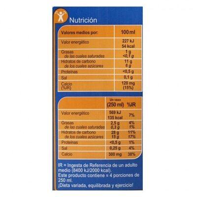 Bebida arroz calcio - Informations nutritionnelles - es