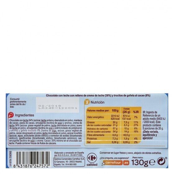 Chocolate con leche cachitos galleta - Informations nutritionnelles - es