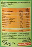 Tarrito pasta boloñesa - Informations nutritionnelles - es