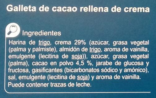 Galleta rellena de crema black&roll - Ingredientes - es