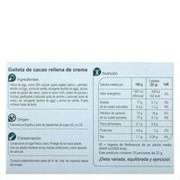 Galleta rellena de crema black&roll - Información nutricional - es