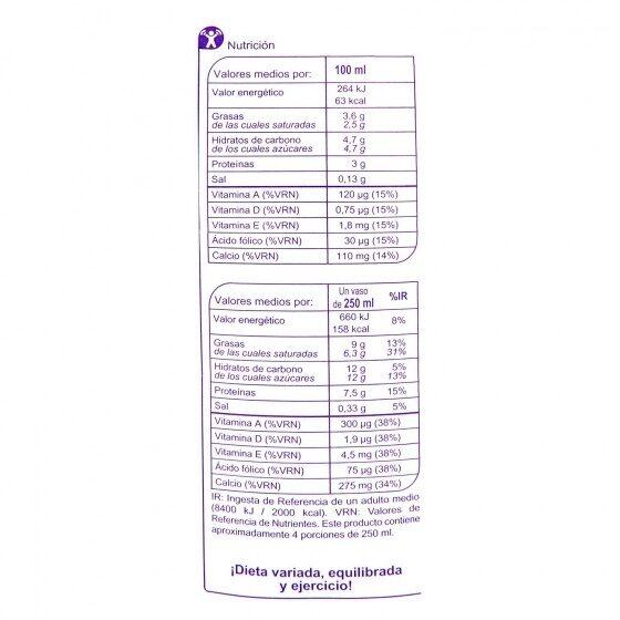 Leche sin lactosa entera - Información nutricional - es