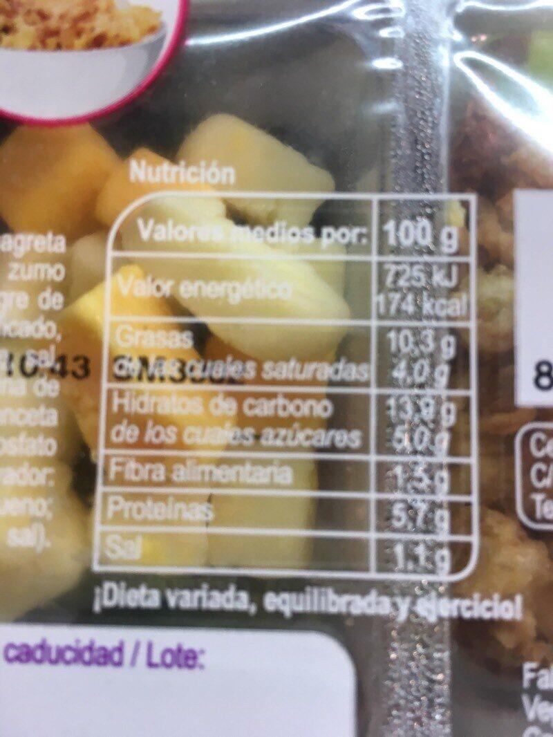 Ensalada fresca Carrefour New Yorker - Informations nutritionnelles - es