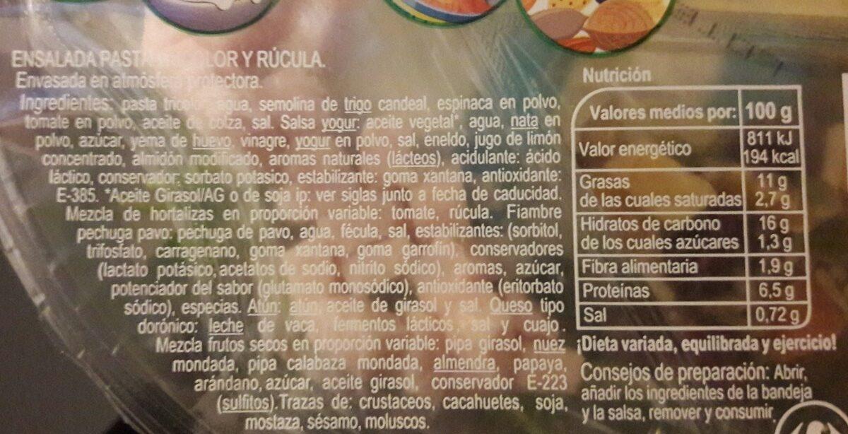 Pasta y rúcula - Ingredientes - es