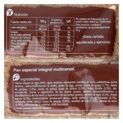 Pan sandwich fino multicereales - Información nutricional - es