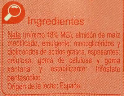 Nata liquida para cocinar - Ingrediënten - es