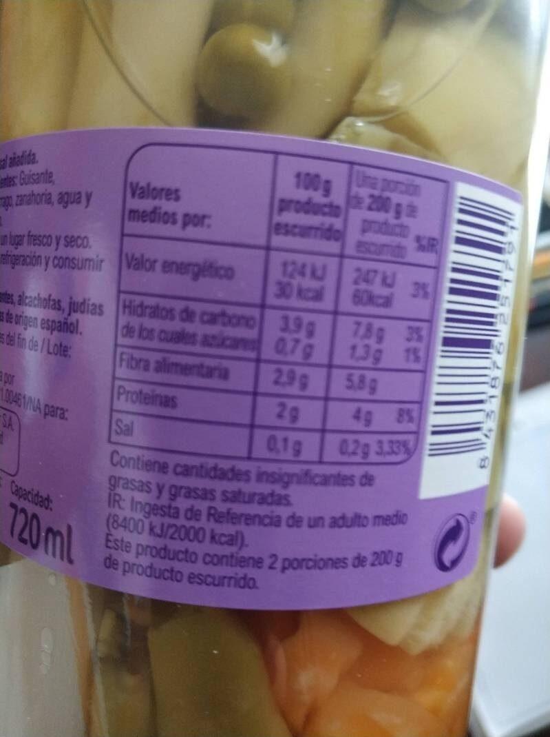 Menestra de verduras - Información nutricional