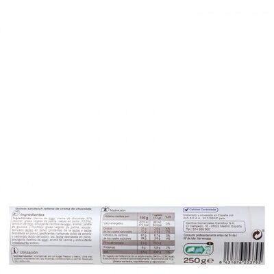 Galleta rellena chocolate - Informació nutricional - es