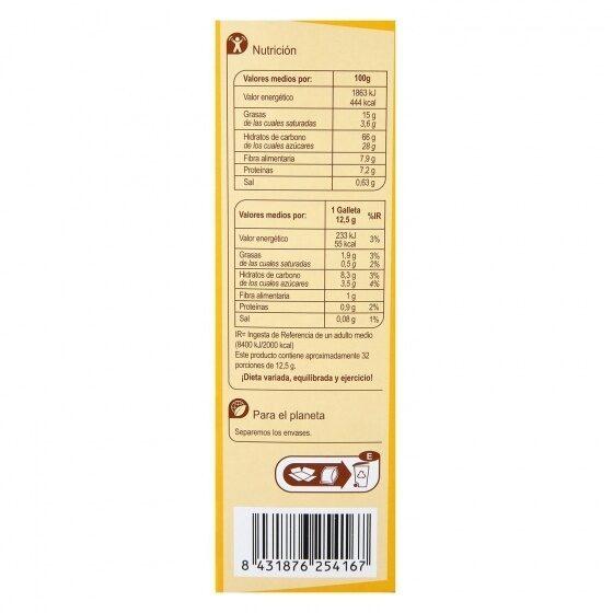 Galletas desayuno 5 cereales chocolate - Información nutricional - es