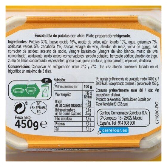 Ensaladilla Rusa Con Atun - Información nutricional - es