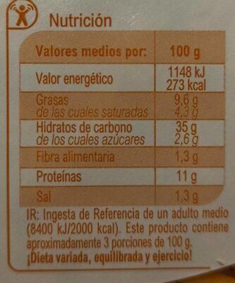 Pizza 3 quesos - Informations nutritionnelles - es