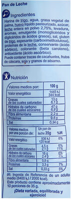 Pan de leche - Informations nutritionnelles - es