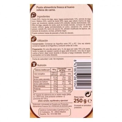 Ravioli de carne - Informations nutritionnelles - es