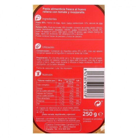 Ravioli de tomate y mozzarella - Informations nutritionnelles - es