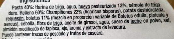 Girasoles. Boletus y Setas - Ingredients