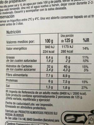 Girasoles. Boletus y Setas - Nutrition facts