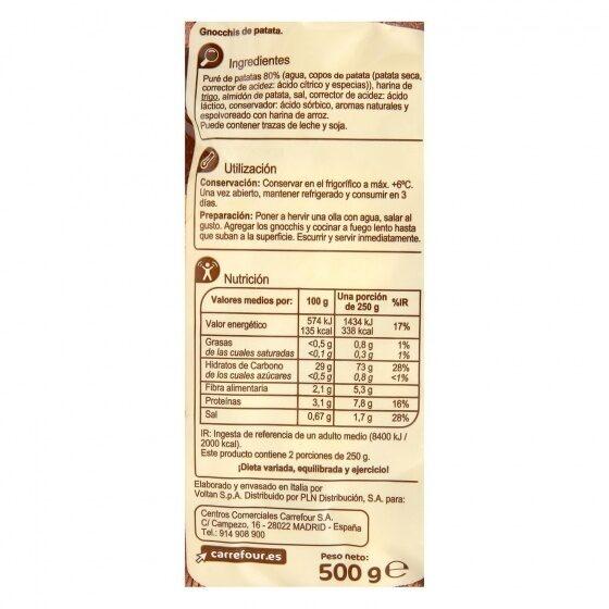 Gnocchi de patata - Información nutricional - es