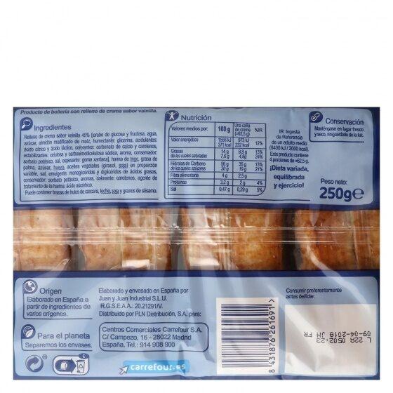Cañas crema - Información nutricional - es