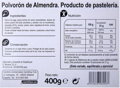 Polvorones selectos - Nutrition facts - es