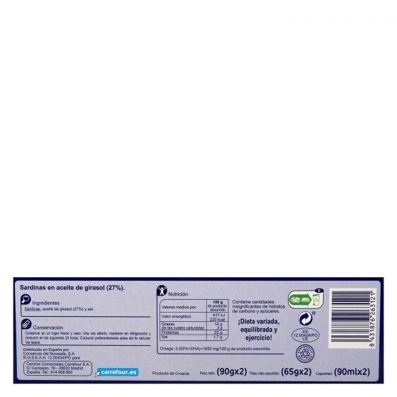 Sardinilla en aceite girasol rr-90 - Informations nutritionnelles - es