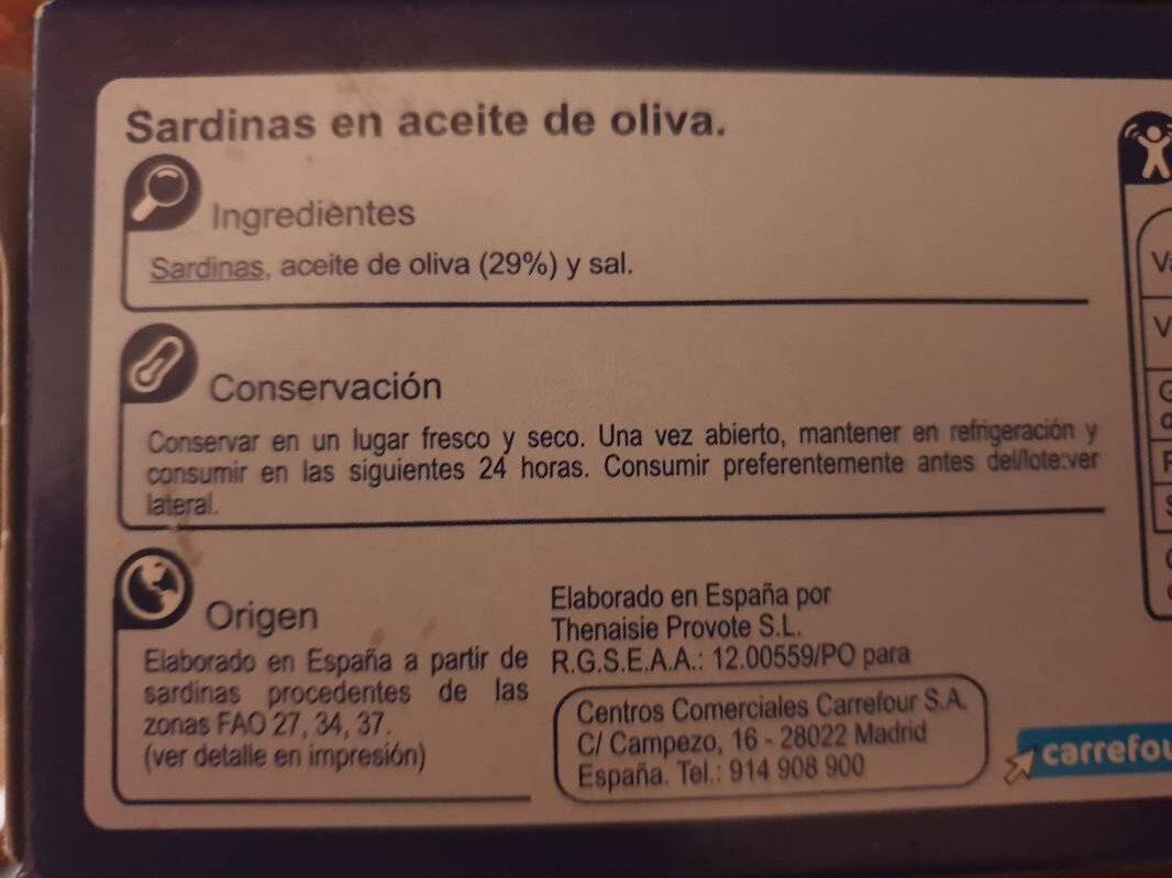 Sardina aceite oliva rr-125 - Ingredientes - es