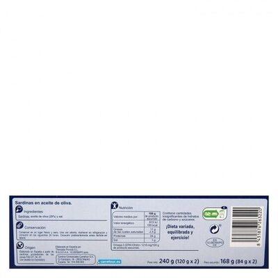 Sardina aceite oliva rr-125 - Información nutricional - es