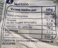 Harina de arroz - Informació nutricional