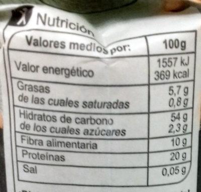 Harina garbanzo - Información nutricional - es