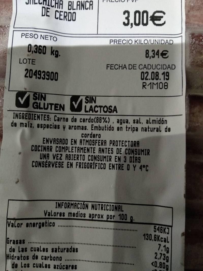 Salchicha blanca de cerdo - Ingredientes - es