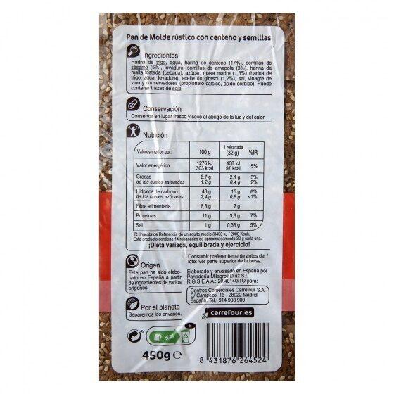 Pan de centeno y semillas - Informació nutricional - es