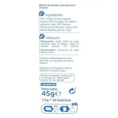 Infusión respira - Informació nutricional - es