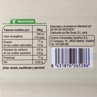 Tofu natural - Informations nutritionnelles