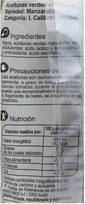 Aceituna manzanilla sin hueso - Informació nutricional - es