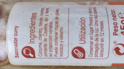 CURRY Y SAZONADOR - Ingredientes