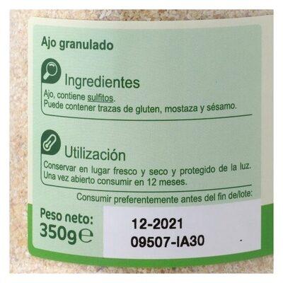 Ajo Granulado - Información nutricional - es
