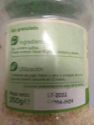 Ajo granulado - Informació nutricional