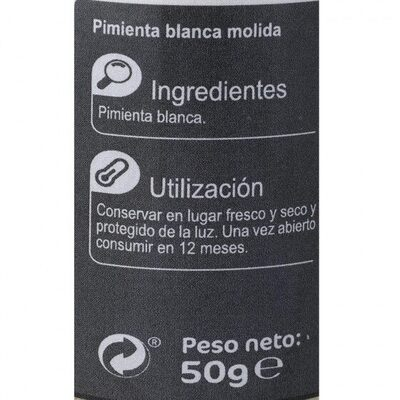 Pimienta blanca molida - Nutrition facts - es
