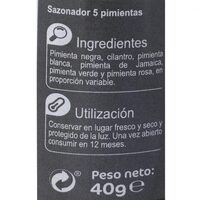5 pimientas molinillo - Valori nutrizionali - es